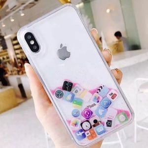 Other - new iphone 7 , 8 Liquid icon case glitter app